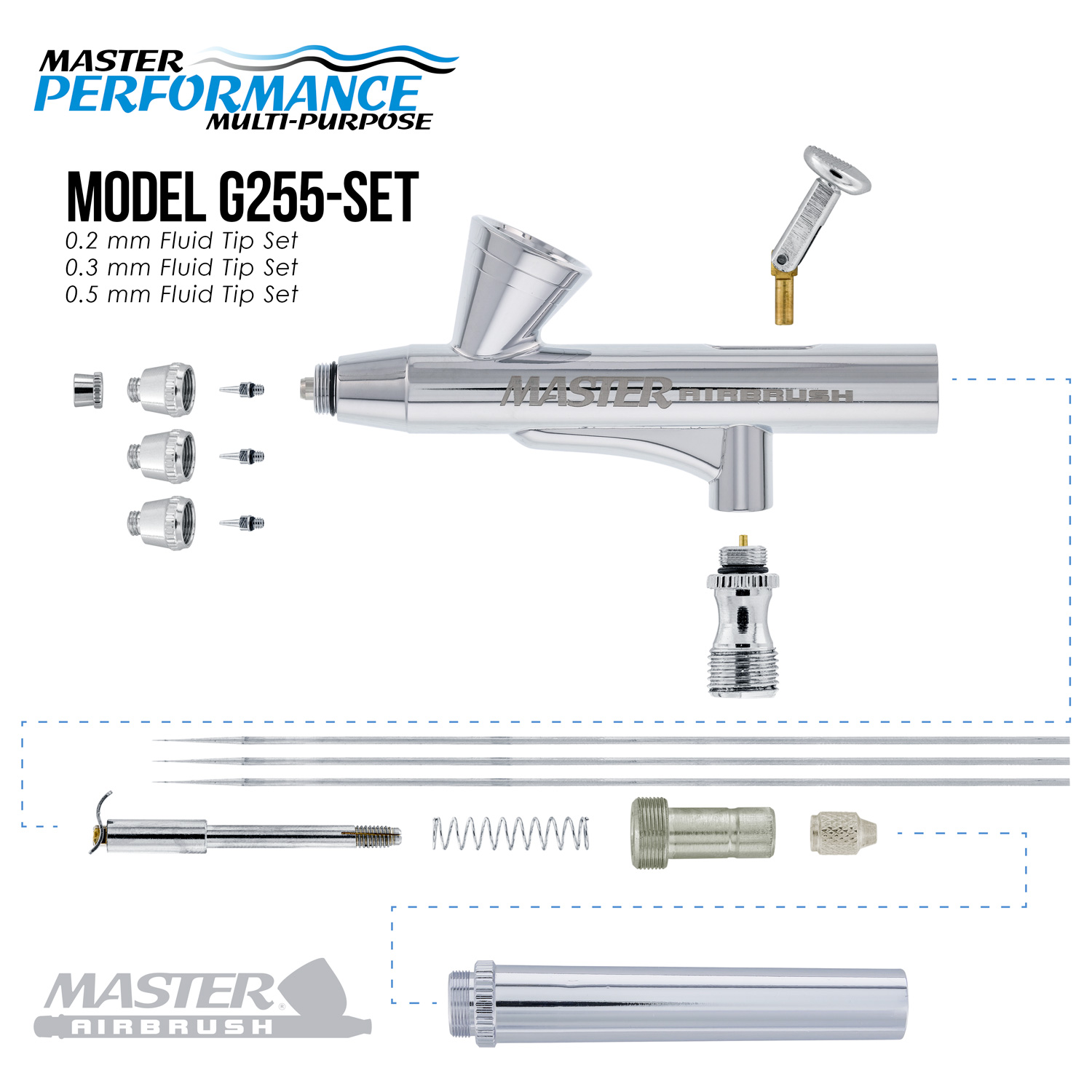 3 Tip MASTER G255 Dual-Action AIRBRUSH PRO SET KIT Auto Paint Nail Tattoo Hobby