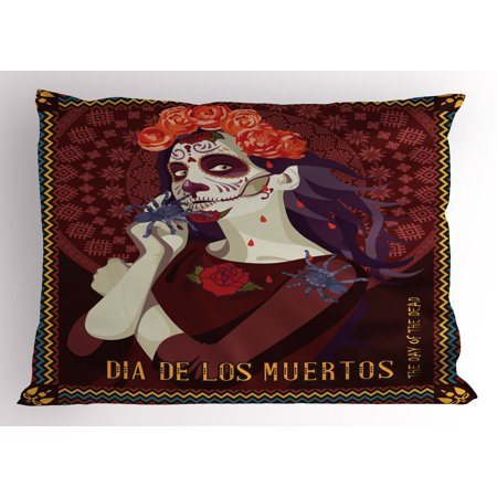 Day Of The Dead Pillow Sham Dia de los Muertos Print Woman with Calavera Makeup Spanish Rose Artwork, Decorative Standard Size Printed Pillowcase, 26 X 20 Inches, Burgundy, by - Calaveras Del Dia De Halloween