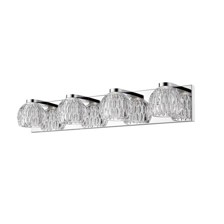 28 Inch Chrome Base - Bathroom Vanity 4 Light With Chrome Finish Steel Material LED-Integrated 28 inch 20 Watts