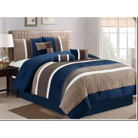 7 Piece, Collection Bed in Bag Luxury Stripe Microfiber Comforter Set, Cal King, Navy
