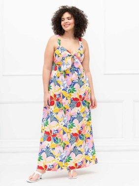 ELOQUII Elements Women's Plus Size Tie-Front Paradiso Print Tank Dress