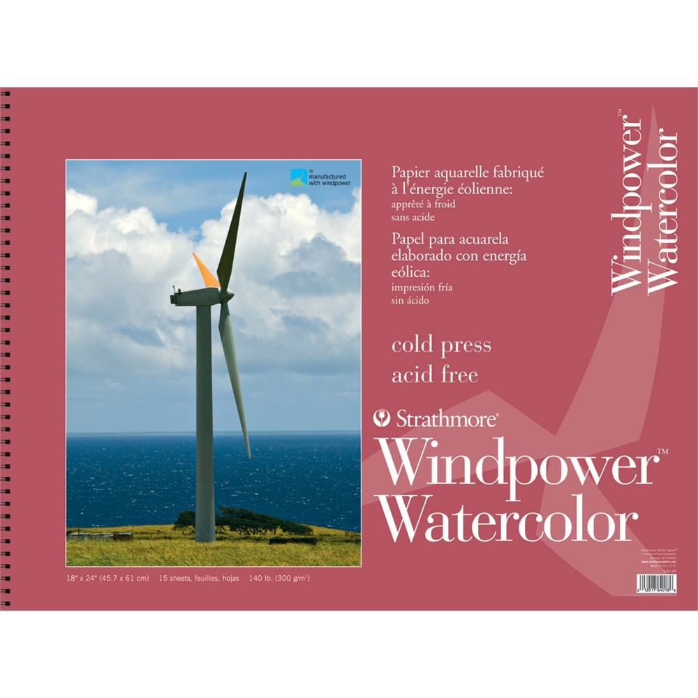 """Strathmore Windpower 18"""" x 24"""" Cold Press Wire Bound Watercolor Pad"""