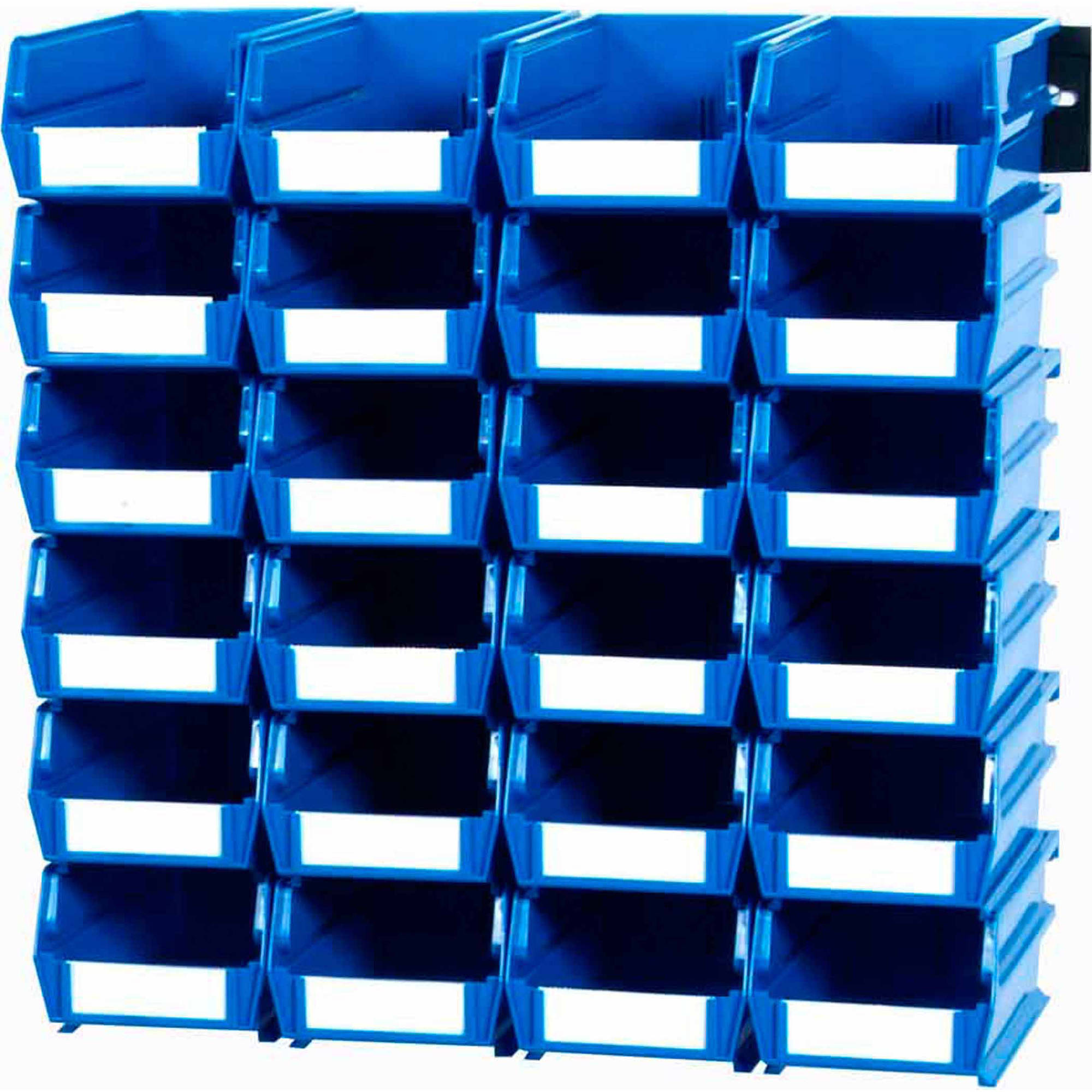 "LocBin 26-Piece Wall Storage Unit with 5-3/8""L x 4-1/8""W x 3""H Interlocking Poly Bins, 24ct, Wall Mount Rails 8-3/4""L with Hardware, 2pk"