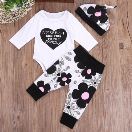 fc7690f88f29 Cute Newborn Baby Boys Girls Cotton Tops Romper Pants Hat Home 3Pcs ...