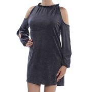 KENSIE Womens Gray Cold Shoulder Long Sleeve Crew Neck Mini Shift Dress  Size: M