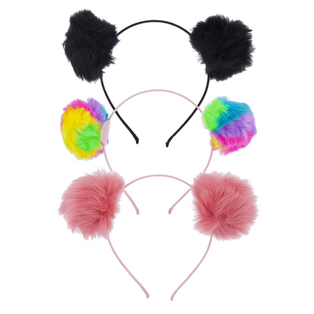 Lux Accessories Multicolor Tie Dye Fuzzy Pom Pom Ball Cat Ear Headband Set 3 - Ear Headbands