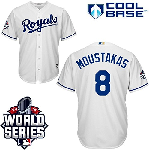 Mike Moustakas Kansas City Royals #8 MLB Men's Cool Base 2015 World Series Participant Patch Home Jersey (Medium)
