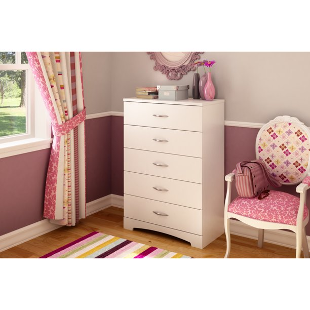 South Shore Step One 5-Drawer Chest-Color:White,Finish:Pure White