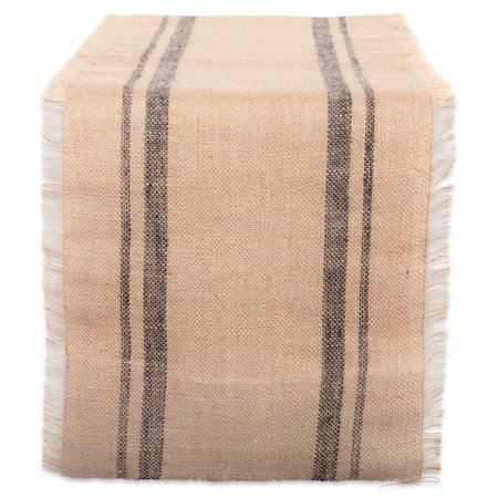 DII Mineral Double Border Burlap Table Runner, 72 x 14