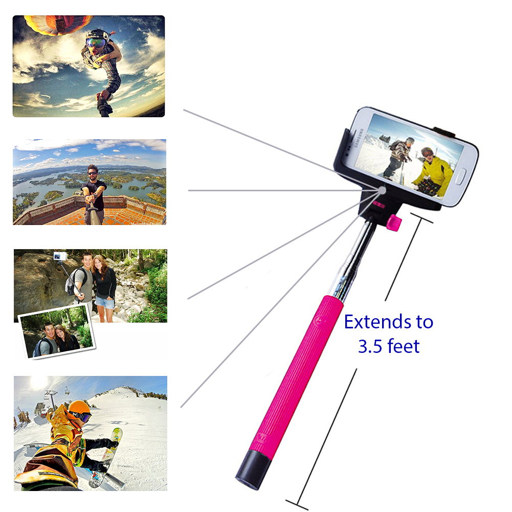 Minisuit Selfie Stick Pro with Built-In Remote for Apple & Android - Pink