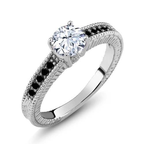1.17 Ct Round White Topaz Black Diamond 925 Sterling Silver Engagement Ring