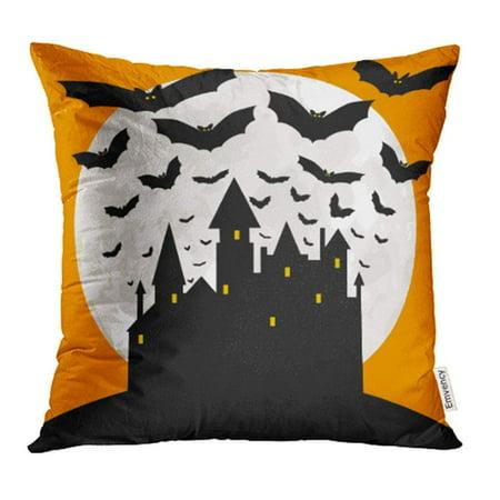 Sky Sports News Halloween (USART Black Halloween with Castle Bats and Orange Sky Cartoon Dark Evil Greeting Pillow Case Pillow Cover 20x20 inch Throw Pillow)