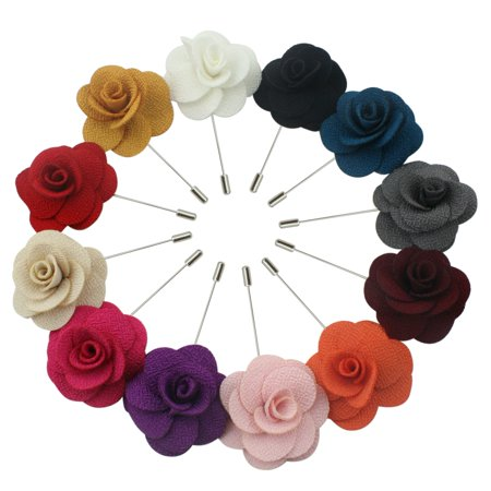 Lapel Flower Pin Rose for Wedding Boutonniere Stick (Set of 12 Assorted Color PINS)