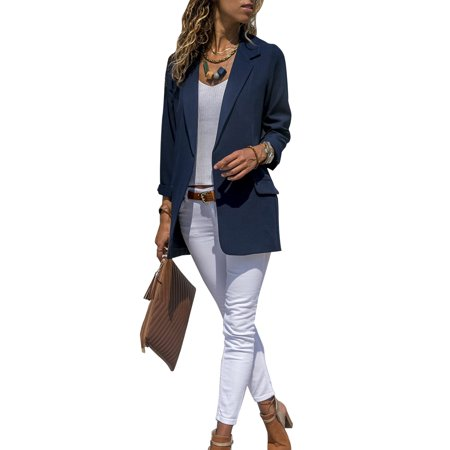 Long Sleeve Wool Blazer (Fashion Women Slim Casual Suit Blazer Coat jacket Ladies OL Office Work Business Long Sleeve Outwear Top )
