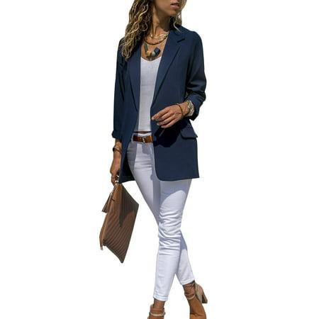 Fashion Women Slim Casual Suit Blazer Coat jacket Ladies OL Office Work Business Long Sleeve Outwear Top - Santa Business Suit