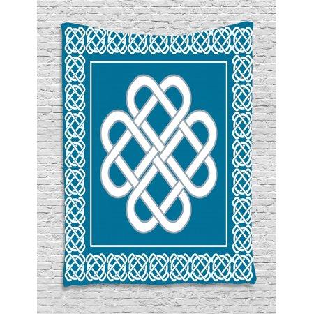 Irish Tapestry, Celtic Love Knot Good Fortune Symbol Framework Border Historical Amulet Design, Wall Hanging for Bedroom Living Room Dorm Decor, Dark Aqua White, by Ambesonne Celtic Designs And Symbols