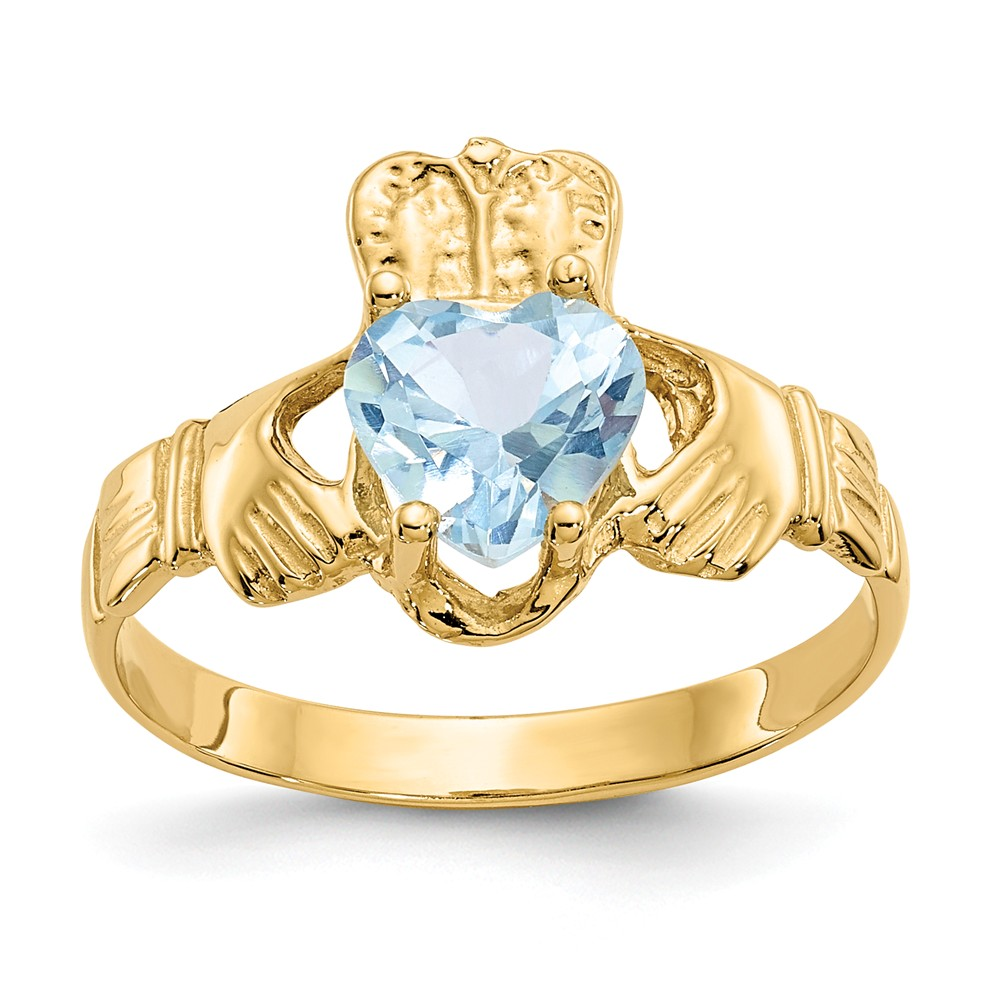 14k March Birthstone Claddagh Ring by Jewels By Lux