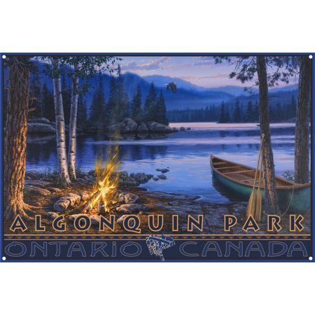 Algonquin Park Ontario Canada Lake Canoe Fire Metal Art Print by Darrell Bush (12