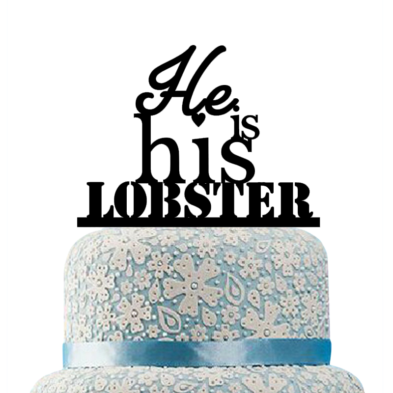 Buythrow He is His Lobster Cake Topper,Same Sex Wedding Cake Topper by Dreamstrue LLC