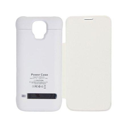 3200mAh Protector con Bateria Incluida para Samsung Galaxy S5 con Cubierta y Soporte de Apoyo (Blanco) (Soporte Para Tablet Samsung)