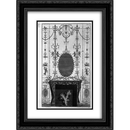 Giovanni Battista Piranesi 2x Matted 20x24 Black Ornate Framed Art Print 'Fireplace: in the frieze of Medusa heads 3 horns of plenty joined by the sides of Aries heads'