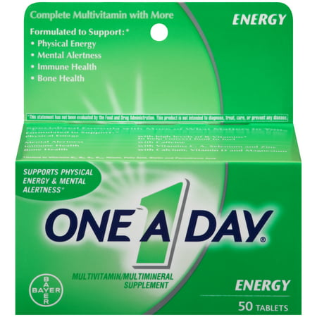 One A Day Energy, Multivitamin Supplement including Caffeine, Vitamins A, C, E, B1, B2, B6, B12, Calcium and Vitamin D, 50 ct.