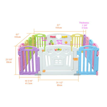 LIVINGbasics Baby Playpen Kids Play Yard 14 Panel Activity Centre Safety for Home/Indoor/ Outdoor - image 5 of 9