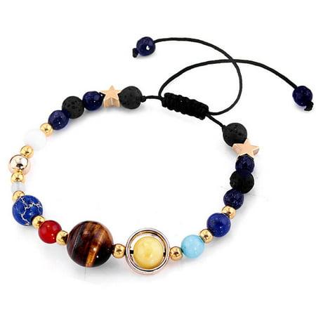 Beads Bracelets Handmade Galaxy Solar System Bracelet Universe Nine Planets Star Natural Stone Beads Bangle 7 Chakra for Man and Woman