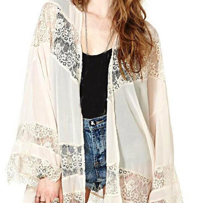 Women Tops New Arrival Fashion Boho Fringe Lace Chiffon Kimono ...