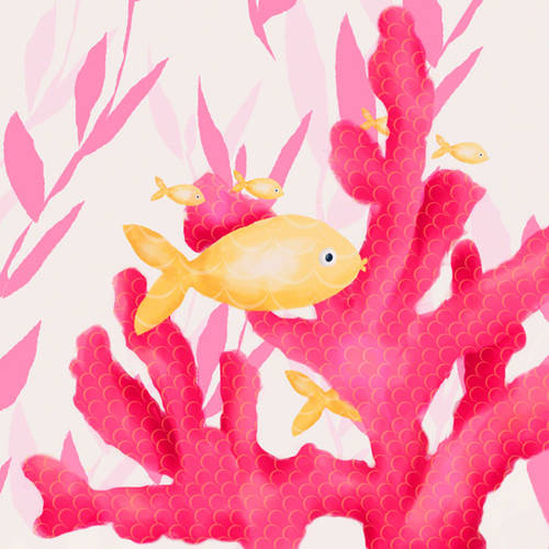 Oopsy Daisy's Pink Coral and Little Fish Canvas Wall Art, 10x10