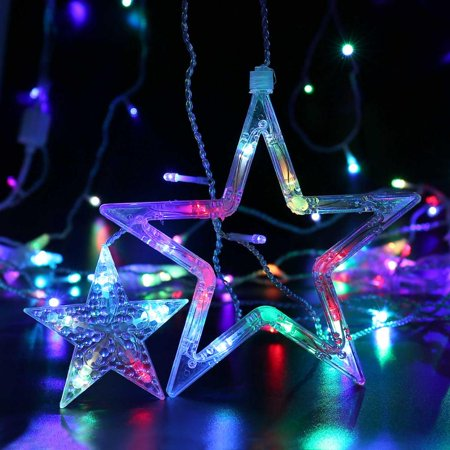 String Lights Big W : Qedertek 138 LED 8.2ft Star Linkable Curtain String Lights(6 Small 6 Big), Power Operated AC ...