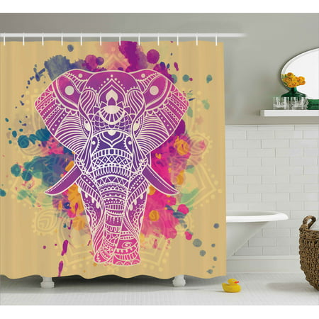 Indian Shower Curtain Watercolor Style Effect Ethnic Theme An Ornamented Elephant Illustration Fabric Bathroom