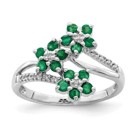 - 925 Sterling Silver 3 Flower Green Emerald Diamond Band Ring Size 6.00 Flowers/leaf Gemstone For Women