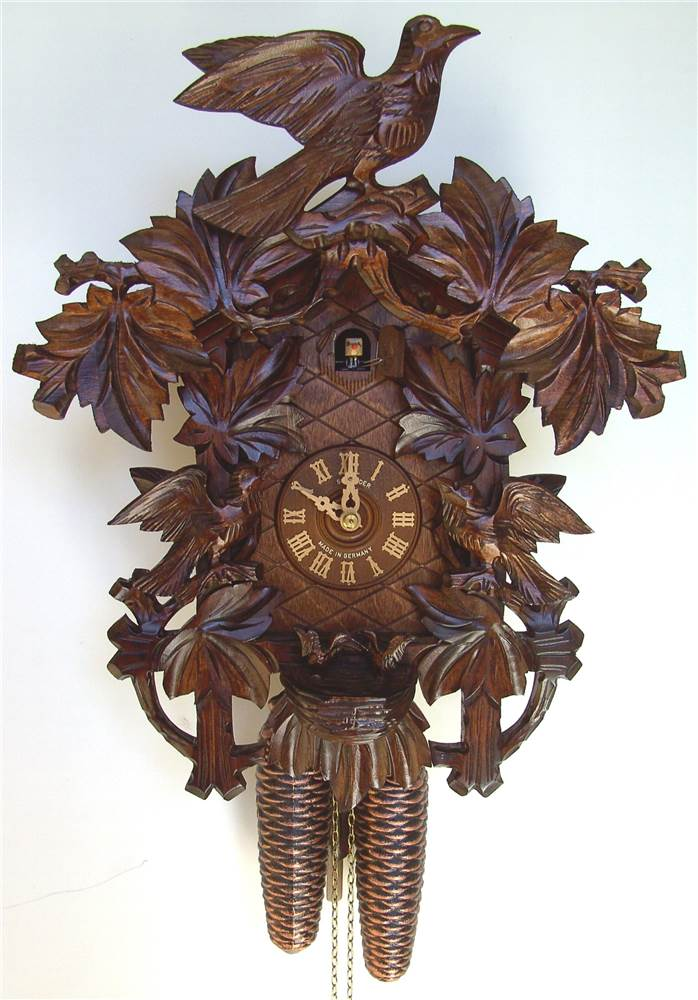 8-Day Wooden Cuckoo Clock in Mahogany Finish by Schneider Cuckoo Clocks