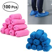 100pcs Non-woven Fabric Disposable Shoes Covers Elastic Band Breathable Dustproof Anti-slip Shoe Covers (Pink)