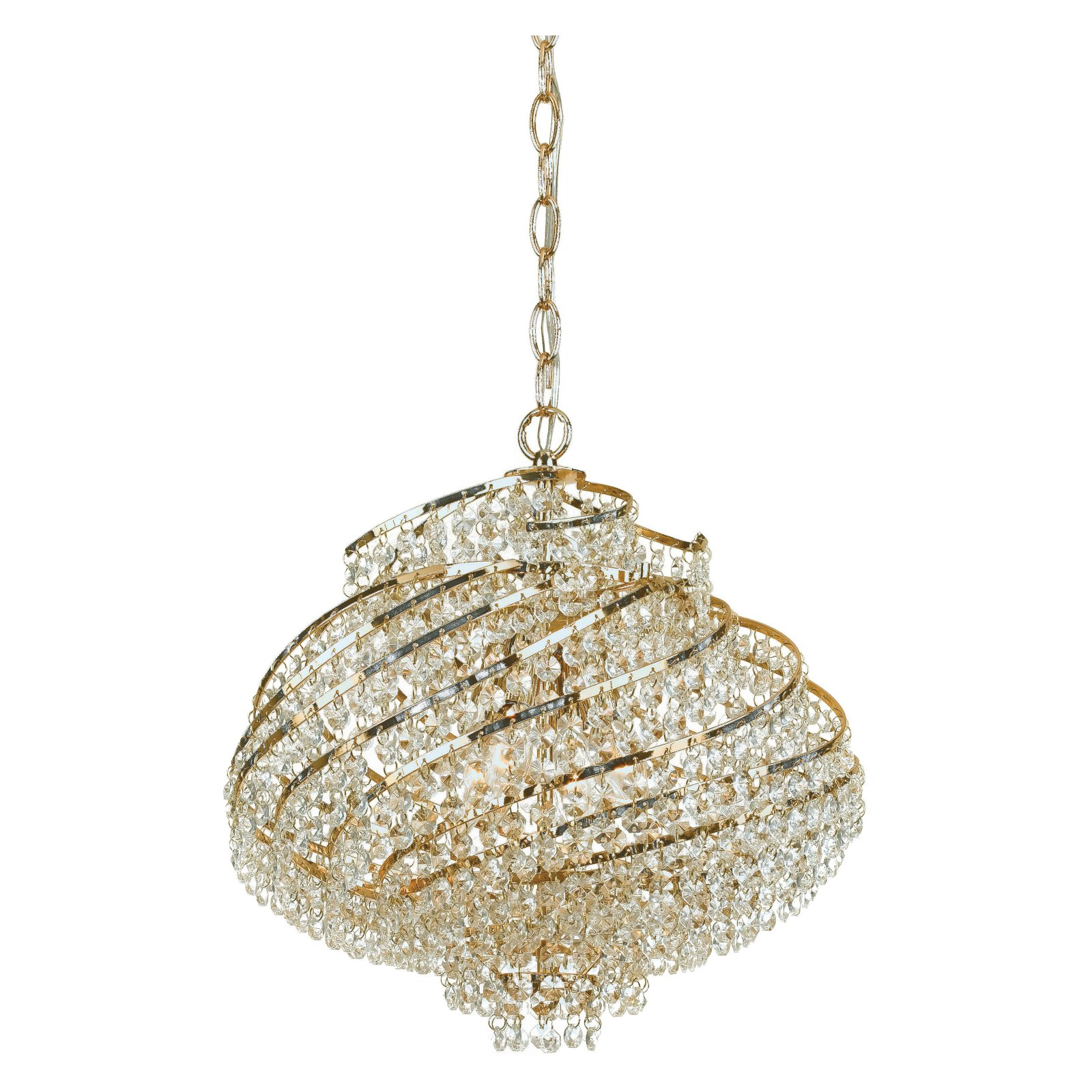 AF Lighting Lyric 4-Light Chandelier with Clear Glass Accents, Gold-Plated Brass