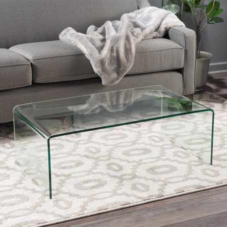 Noble House Roman Tempered Glass Coffee Table, Clear Wellington Cocktail Table