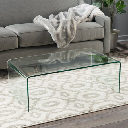 Bent Glass Coffee Table - Noble House Roman Tempered Glass Coffee Table, Clear