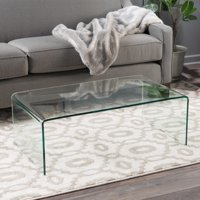 Noble House Roman Tempered Glass Coffee Table, Clear