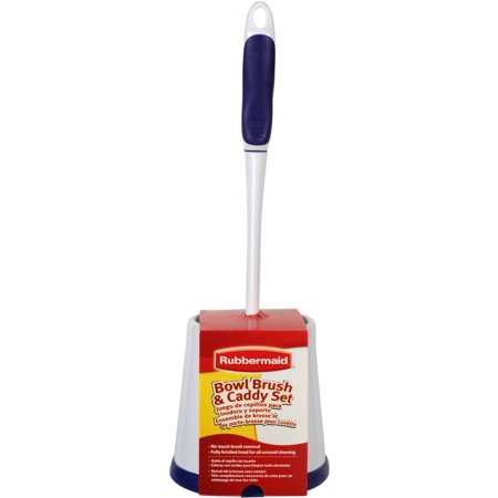 Rubbermaid FG6B9900 Toilet Bowl Cleaning Brush and Caddy Set ...