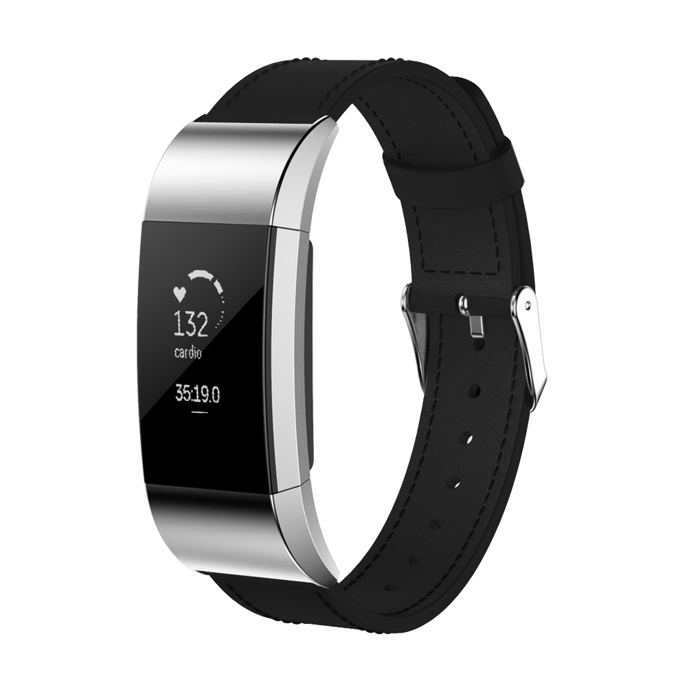 Fitbit Fitness Watch Gear Genuine Leather wristband replacement Band for Fitbit Charge 2 By Element Works ( Large ) - Black