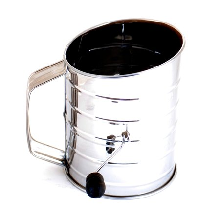 3-Cup Stainless Steel Rotary Hand Crank Flour Sifter With 2 Wire Agitator 3 Cup by