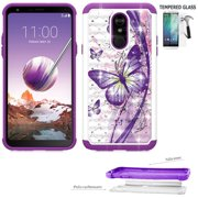 Phone Case For Straight Talk LG Stylo 5 Smartphone / LG Stylo5v Case / LG Stylo 5+ Case / LG Stylo 5 Plus Tempered Glass with Dual Layered shock absorbing Crystal Cover (Crystal Butterfly-Purple +Temp