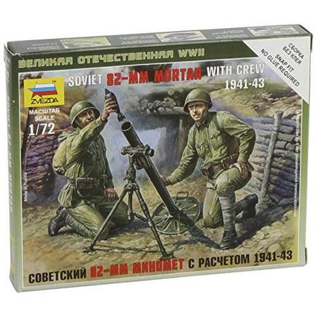 Zvezda #6109 1/72 Scale Unpainted Mini Figure - Soviet 82-MM Mortar with  Crew