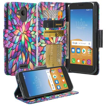 Alcatel Tetra, Alcatel Verso, IdealXcite, CameoX 5044R, Alcatel Raven LTE  A574BL, Alcatel U50 5044S Case [Kickstand] Pu Leather Wallet Phone Case
