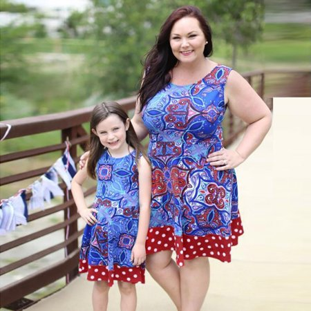 DZT1968Mom&Me Women Floral Print Sundress Sleeveless Slim Splice Dress Family Clothes (Family Dresses)