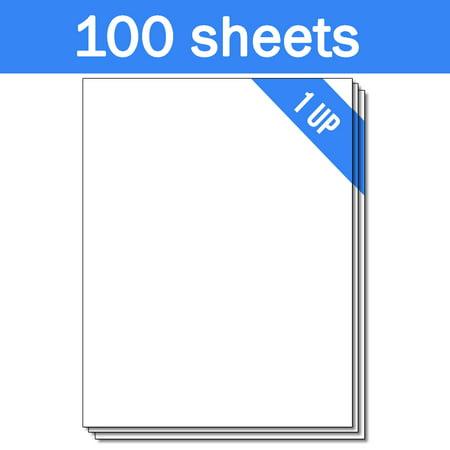 1.75 Inch Laser Labels - OfficeSmartLabels 8.5 x 11 inch Labels for Laser Inkjet ( 1 Label Per Sheet, White, 100 Sheets )