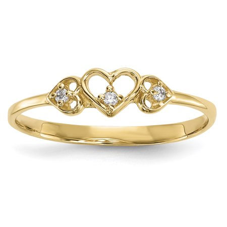Gold Womens Pearl Ring (14k Yellow Gold Cubic Zirconia Cz 3 Hearts Band Ring Size 7.00 S/love )