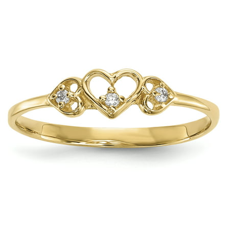 - 14k Yellow Gold Cubic Zirconia Cz 3 Hearts Band Ring Size 7.00 S/love