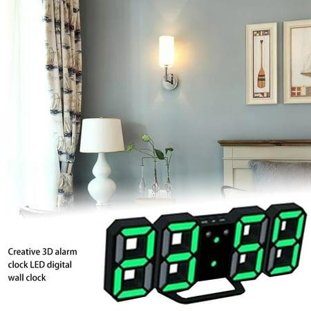 Office Creative 3D Alarm Clock Multifunctional LED Digital Wall Clock Sound Control Stereo Alarm Clock - image 4 de 6